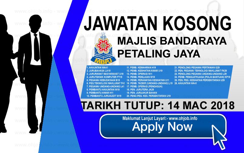 Jawatan Kerja Kosong MBPJ - Majlis Bandaraya Petaling Jaya logo www.ohjob.info mac 2018