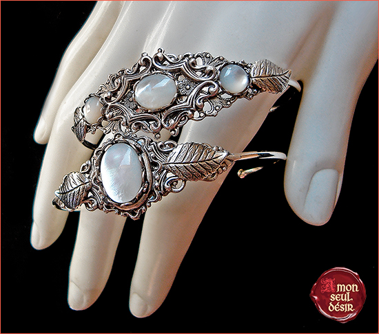 bracelet nacre blanche mother of pearl white elven jewelry elvish bridal fairy wedding