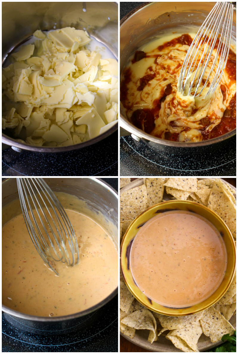 Salsa Con Queso is the perfect blend of melty white queso and spicy salsa. You won't believe how easy it is to make this irresistible three-ingredient cheese dip at home! #queso #cheesedip #appetizer