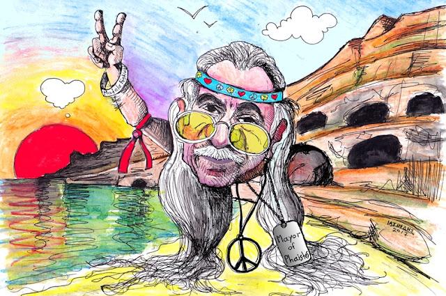 IaTriDis Γελοιογραφία για την εφημερίδα Άποψη του Νότου, Κρήτη, με θέμα τον δήμαρχο Φαιστού, Αρμουτάκη, που μεσα από τις σπηλιές υποδέχεται τους επισκέπτες του φημισμένου φεστιβάλ των Ματάλων.