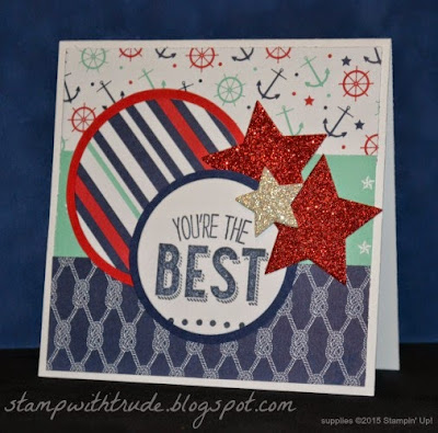 stampwithtrude.blogspot.com , Trude Thoman, masculine, patriotic, encouragement, nautical, Stampin' Up!, Mojo Monday sketch, Friendly Wishes