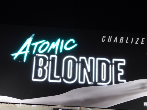 Atomic Blonde neon sign billboard