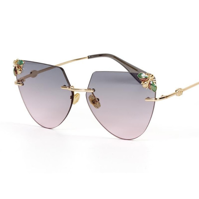 Women's Rimless Bee Decorated Sunglasses