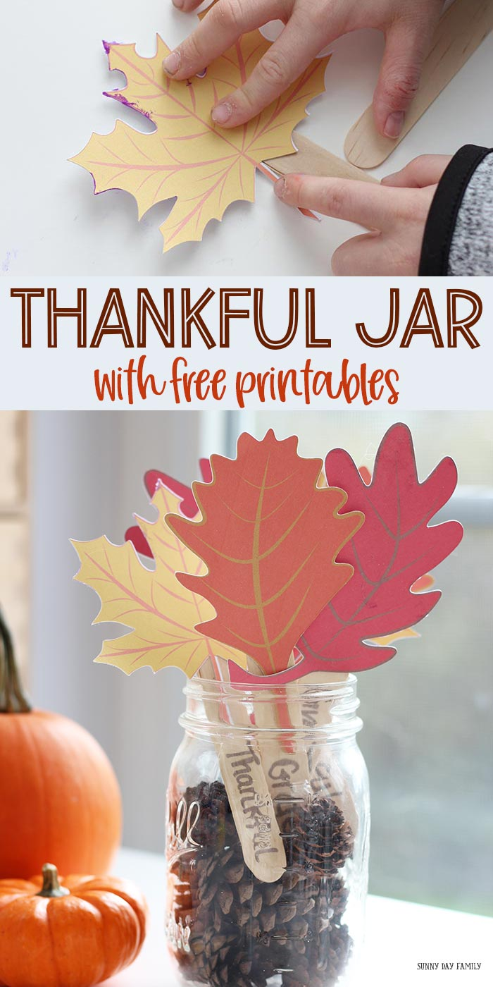 Kids can make this easy Thankful Jar for Thanksgiving! Super cute kid made Thanksgiving decoration or a perfect gratitude jar for the whole family. Encourage gratitude with this thankful jar craft. #thankful #Thanksgiving #Thanksgivingcrafts #gratitude #thankfulness
