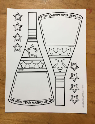 My New Year Matholution! math pennant 2 per page pdf printout