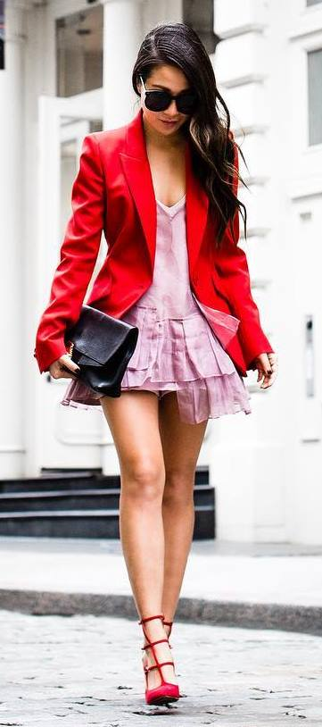 fall trends : red blazer + bag + heels + pink skirt
