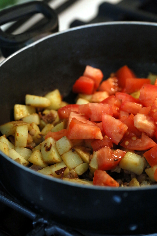 Potato Spinach or Rainbow Chard stir fry. Aloo Palak ...