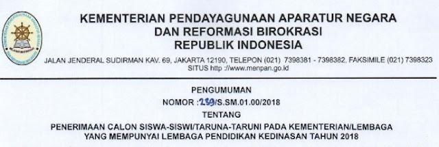 JADWAL PENDAFTARAN SEKOLAH KEDINASAN TAHUN  Pelajar Indonesia JADWAL PENDAFTARAN SEKOLAH KEDINASAN TAHUN 2018/2019 MULAI 9 APRIL 2018 SAMPAI DENGAN 30 APRIL 2018