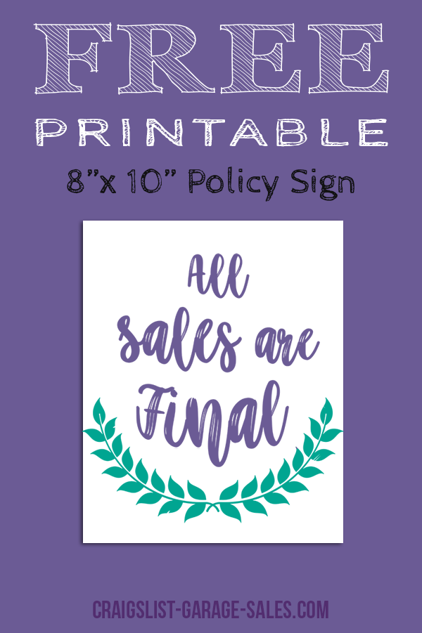 Free Printable Signs: All Sales Final