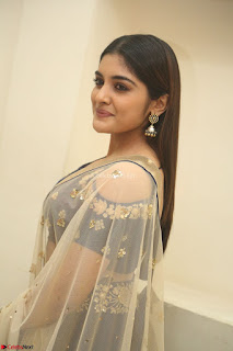 Niveda Thomas in Lovely Blue Cold Shoulder Ghagra Choli Transparent Chunni ~ Exclusive Celebrities Galleries 004