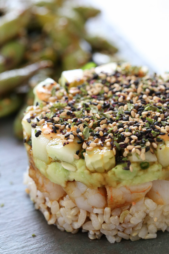 Spicy California Shrimp Stack – a QUICK and EASY recipe to satisfy your sushi craving!