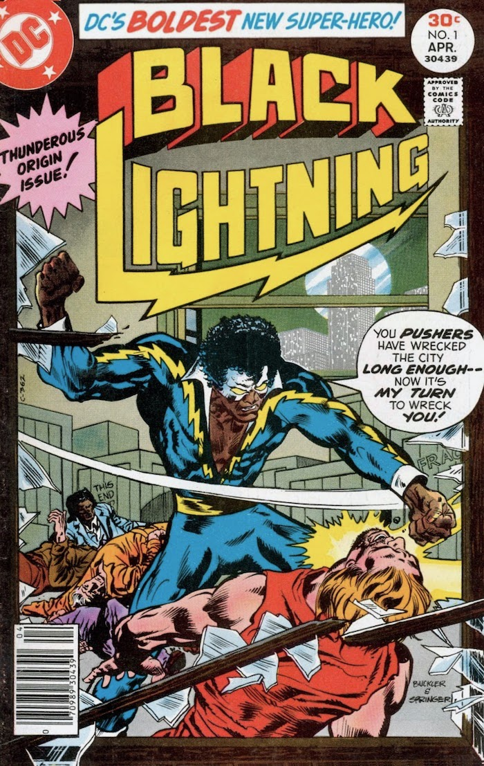 Black Lightning knocking a man through a window as others lie unconscious on floor of room behind them.