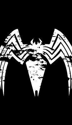 Venom Logo Noir et Blanc - Fond d'Écran en QHD pour Mobile
