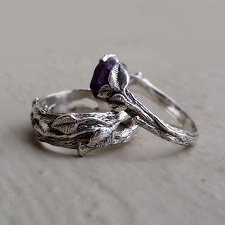 Raw Uncut Engagement Rings, Raw Uncut Sapphire Bands, Raw Uncut Purple Sapphire Twig Rings