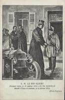 Philippe Demoulin (1809-1912) Arquennes doet zijn opwachting voor zijn café n.a.v. het bezoek van Koning Albert I, dat plaatsvond op 16 februari 1912
