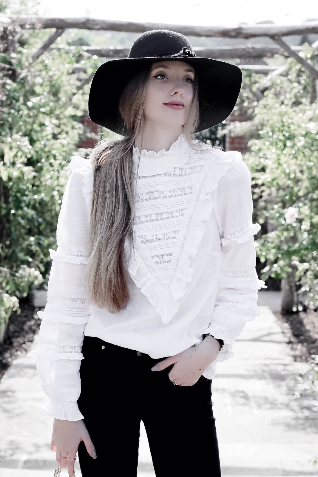White Ruffled Victoriana Blouse