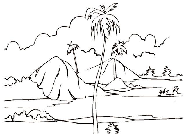 Mewarnai Gambar Pemandangan Alam