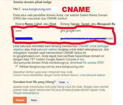 tutorial setting domain ke blogger
