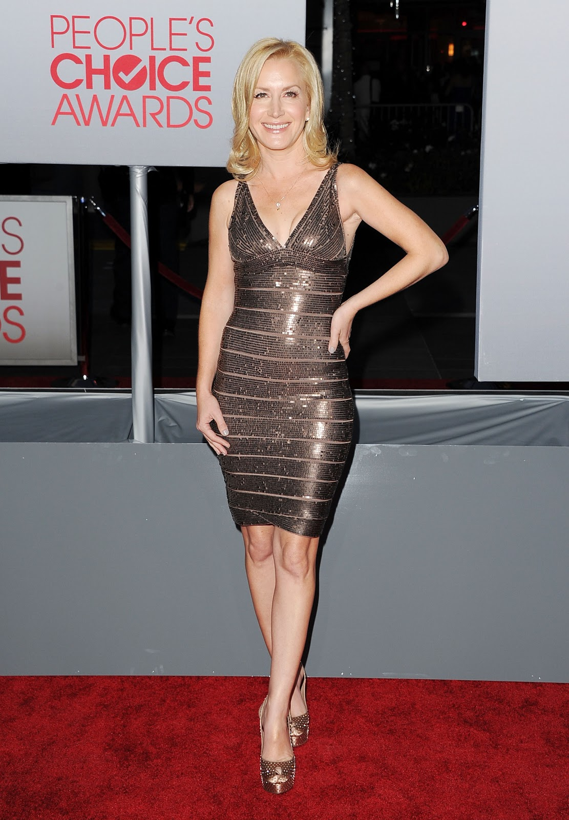 Angela Kinsey Nude Photos herve leger sightings: angela kinsey at the 2012 peoples