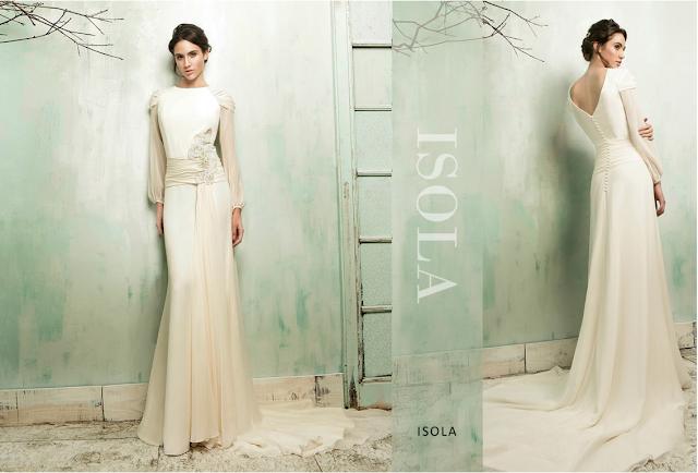 Vestidos de novia vintage con manga larga y gasa