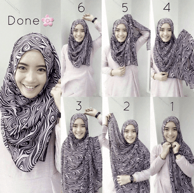 Tutorial Hijab Monochrome alias Monokrom yang Modern dan Elegan Keren