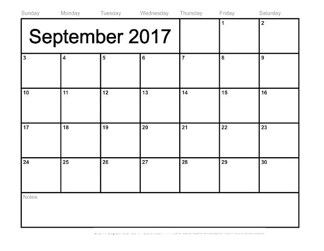 September 2017 Calendar Word  blank calendar printable