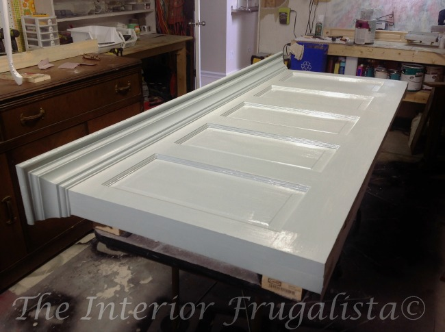 Old Door Headboard Painted Wedgewood Gray