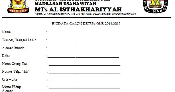 Contoh Biodata Calon Pengurus Osis Contoh Kono