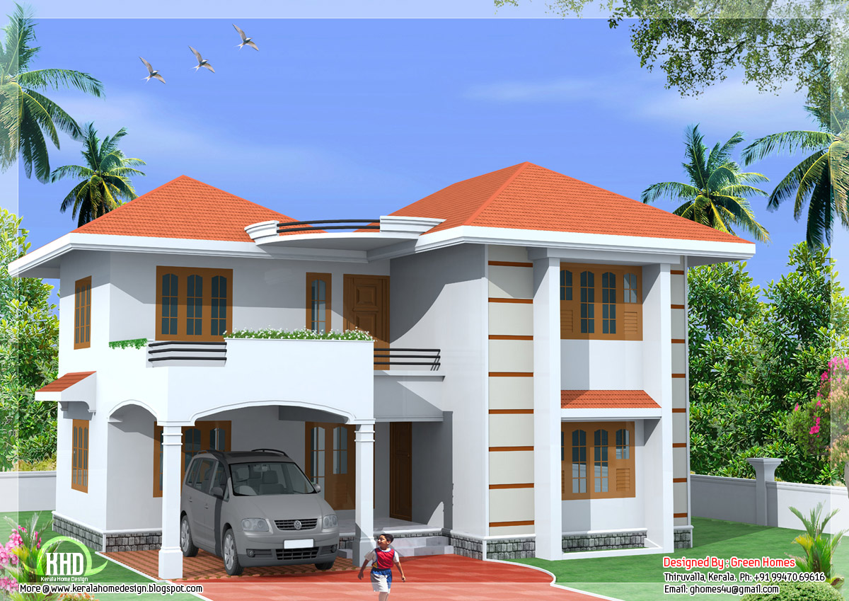 1800 2 storey home design kerala home design and for Indian small house design 2 bedroom