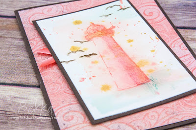No Line Watercolour Lighthouse Card for any occasion featuring the High Tide Stamps from Stampin' Up! UK