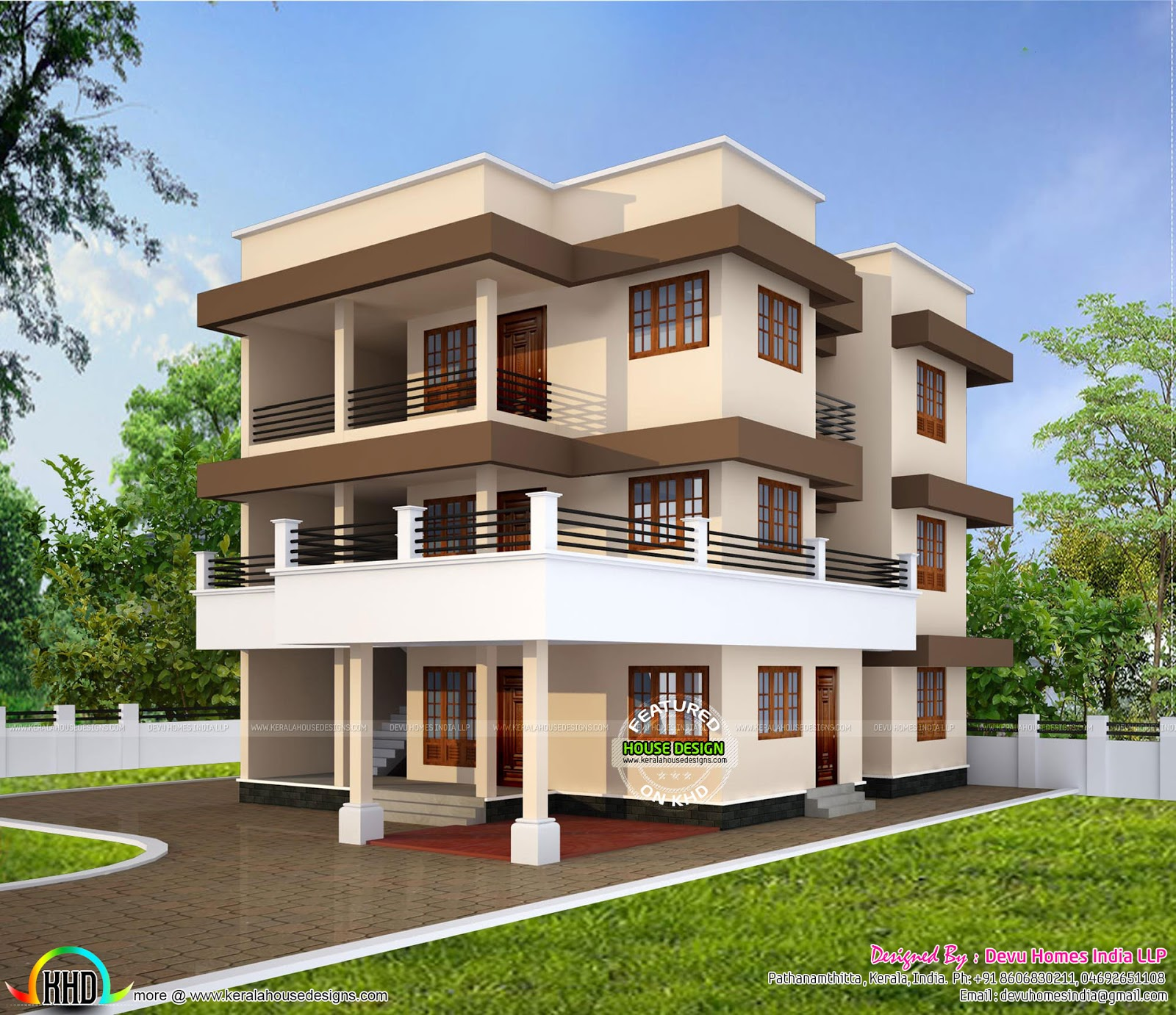 Minimalist duplex house in 2240 sq ft kerala home design for Minimalist house design kerala
