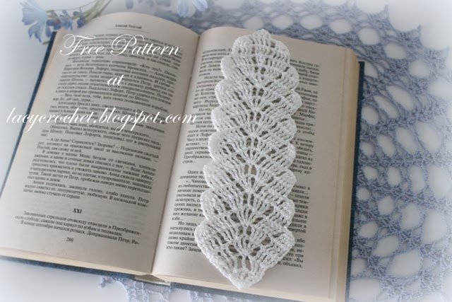 Crochet Lace Book Cover : Lacy crochet leaf bookmark free pattern