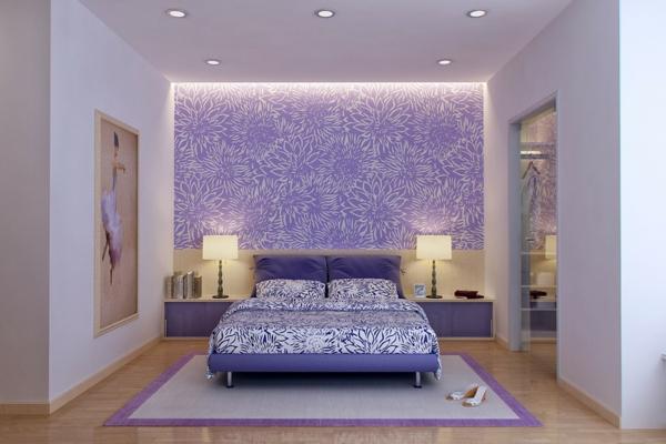 Wandgestaltung Schlafzimmer Lila - Schöne Küche Design