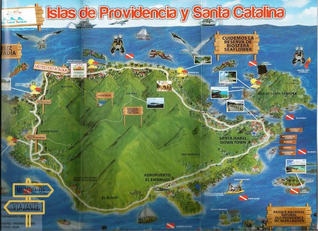 Mapa Ilhas Providencia e Santa Catalina