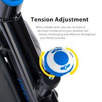 Tension adjustment knob & push down brake on Merax S306 spin bike