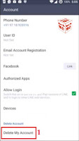 delete line messenger account completely