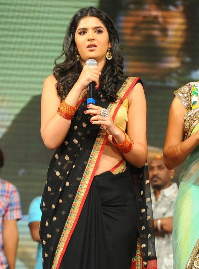 Deeksha Seth Navel Hip Stills In Black Saree