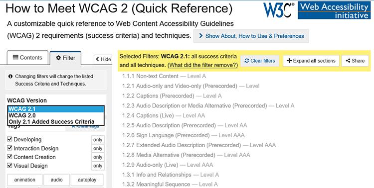 Referencia rápida de las WCAG 2.1 En un desplegable se puede seleccionar los criterios de las WCAG 2.0, WCAG 2.1 o solo los nuevos de las WCAG 2.1