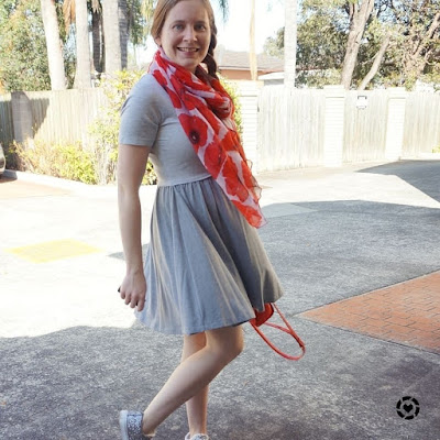 awayfromtheblue instagram | asos grey skater dress twil photo with red poppy print scarf