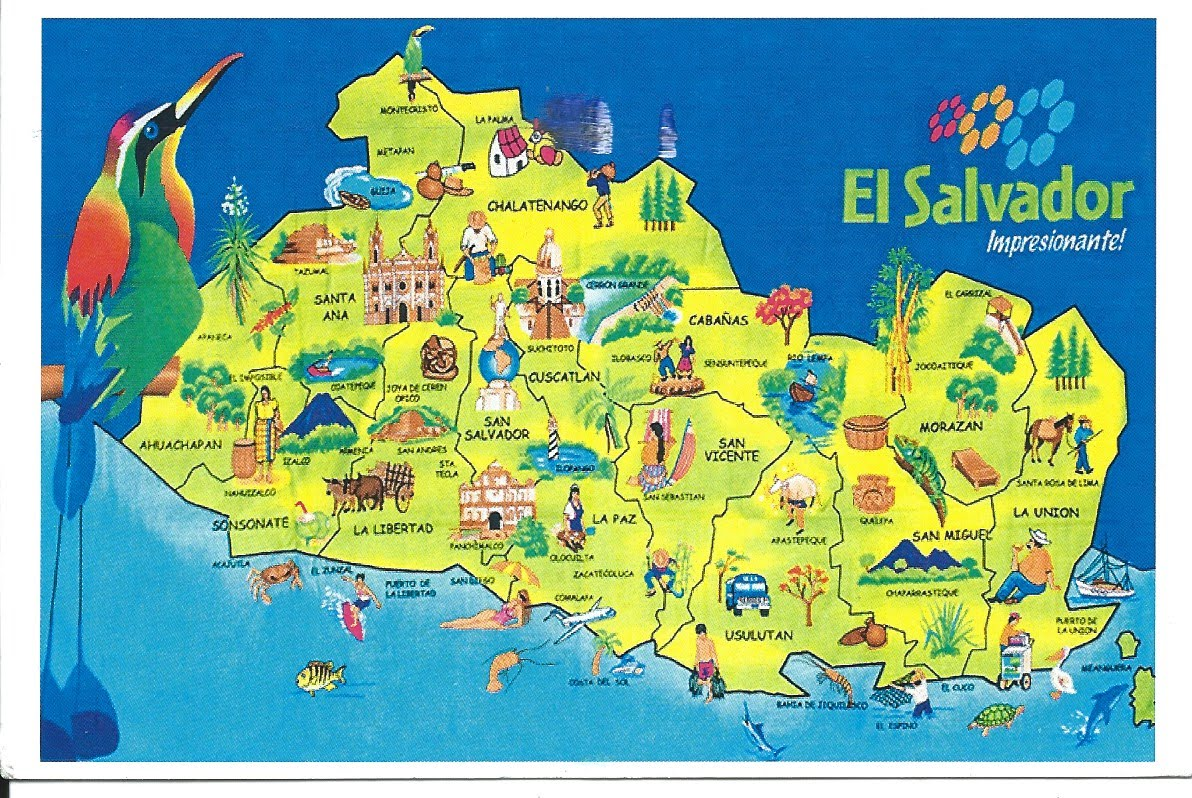 MY POSTCARD-PAGE: EL SALVADOR ~ Map ~