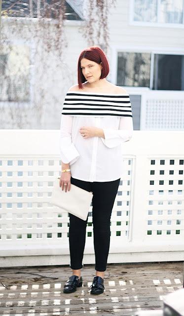 loafers, skinny jeans, off-shoulder top, fashion blogger, ootd
