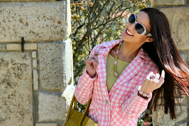 Pink white tweed women houndstooth blazer