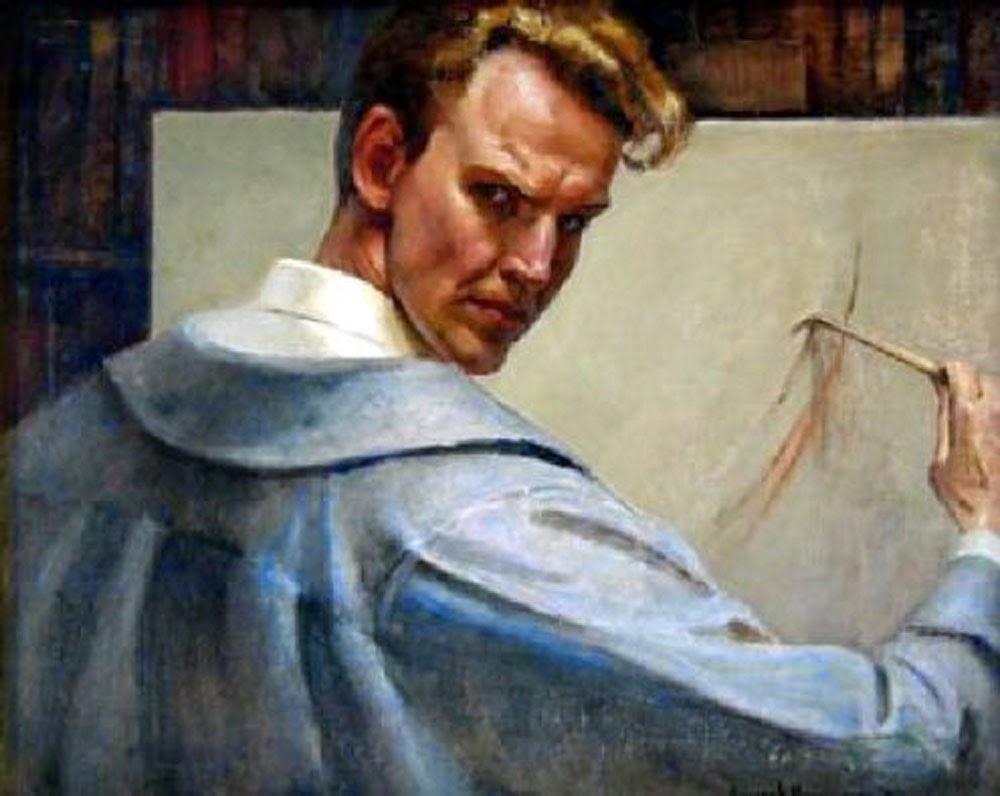 Eugene Alexander Montgomery,  Self Portrait, Portraits of Painters, Fine arts, Painter Alexander Montgomery
