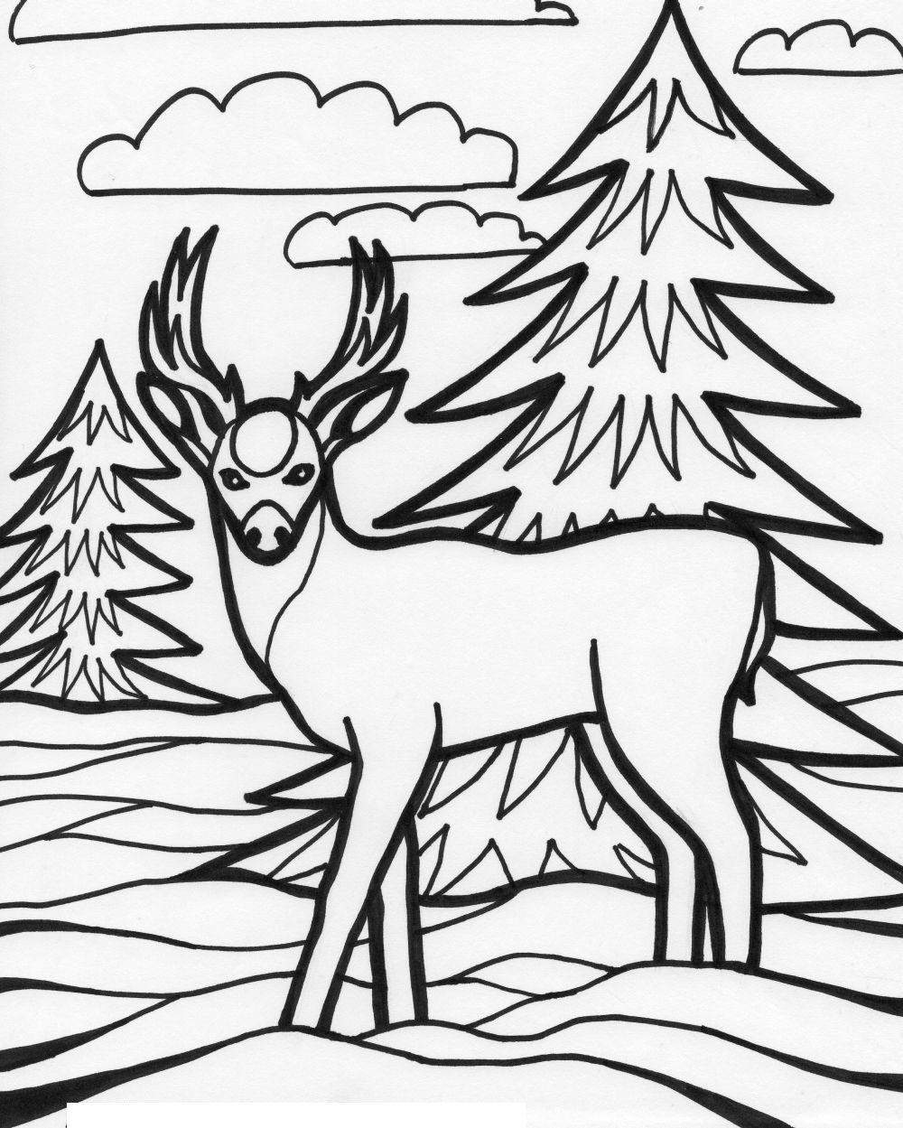 Animals free printable coloring pages ~ For Education New Animal Deer Coloring Pages
