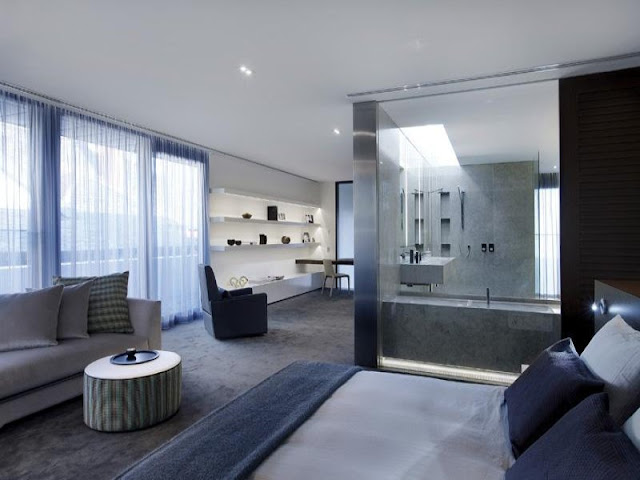 Photo of bathroom entrance from one of the bedrooms in amazing home in Melbourne