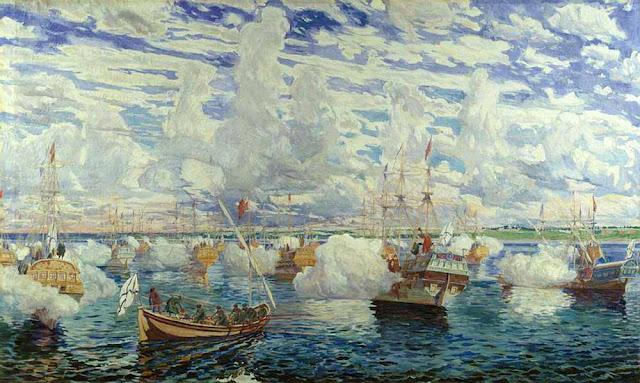 Dmitrij Kardovskij. La ŝiparo de Petro sur lago Pleŝĉejevo la 25-n de aŭgusto 1692 (1927).