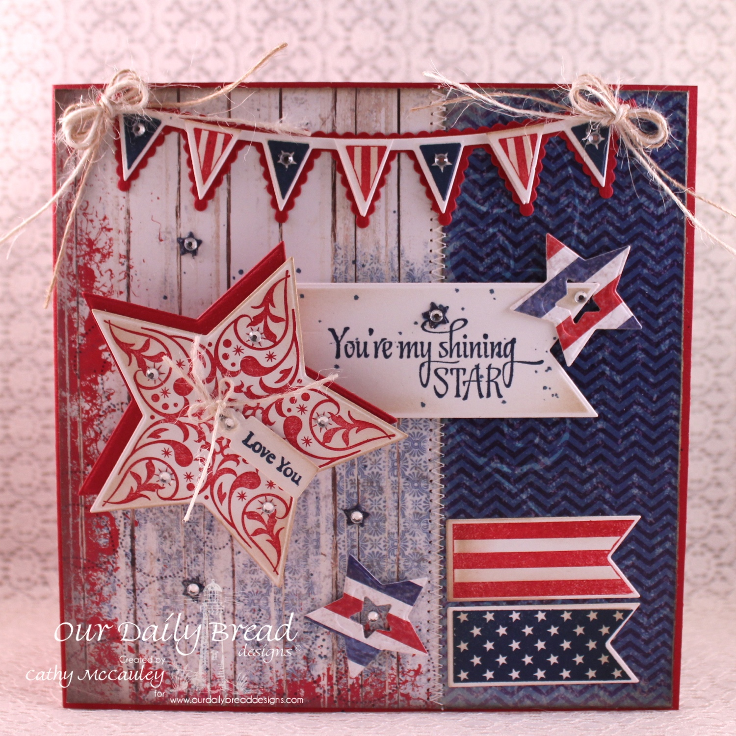 Stamps - Our Daily Bread Designs Shine On, Patriotic Pennants Mini Tag Sentiments, ODBD Patriotic Paper Collection, ODBD Custom Shining Stars Dies, ODBD Custom Pennants Die, ODBD Custom Pennant Row Die, ODBD Custom Mini Tags Dies