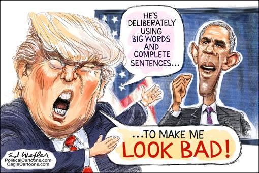 Donald Trump watching Barack Obama's speech and saying,
