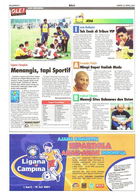 LIGA INDONESIA: LIGANA CAMPINA MENANGIS, TAPI SPORTIF