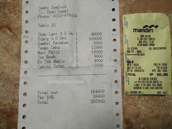 harga menu makanan di jumbo seafood lampung